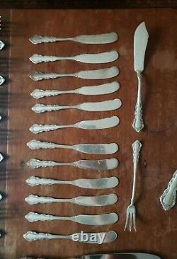 Reed & Barton Sterling Silver GEORGIAN ROSE Flatware Service for 12 78 pieces