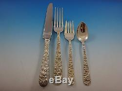 Repousse by Kirk Sterling Silver Flatware Service For 12 Set 49 Pcs Dinner Size