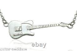 Rick Parfitt Guitar Necklace Sterling Silver Rock n Roll Gift Music Jewellery