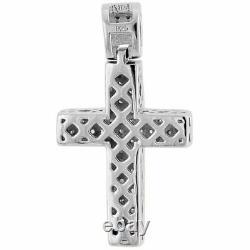 Round Diamond Cross Pendant Mini Jesus. 925 Sterling Silver Pave Charm 01.33 CT