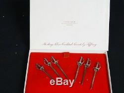 SET of 6 TIFFANY & Co STERLING SILVER SWORD COCKTAIL OLIVE MARTINI PICK
