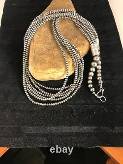 STUNNING NAVAJO PEARLS Sterling Silver Necklace 6 Strand Pendant 30 8525