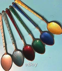 STUNNING Vtg. Sterling Silver 925 Enamel Guilloche 6 Spoon SET Ela DenmarkRARE