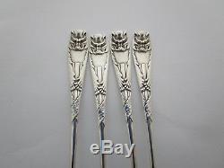Set of (4) Four Rare Astectic Sterling Silver Gorham Bat Oyster Forks C 1885