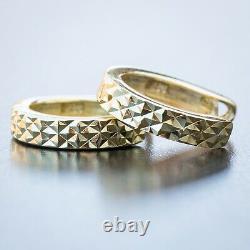 Small Unisex 14K Yellow Gold Sterling Silver Diamond Cut Huggie Hoop Earrings
