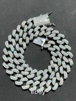 Solid 925 Sterling Silver 15mm Miami Cuban Chain 18 20 Choker 80ct Man Diamond