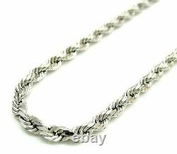 Solid 925 Sterling Silver Italian Rope Chain Mens Necklace 4mm Diamond Cut