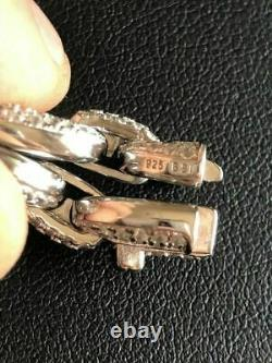 Solid 925 Sterling Silver Men's Gucci Link Choker Chain 18 20 20ct Man Diamond