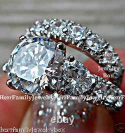 Solid 925 Sterling Silver Round cut Engagement Ring Wedding Set size 4 5 6 7 8 9