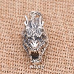 Solid 925 Sterling Thai Silver Pendant Dragon King Head Men's