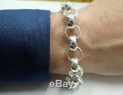 Solid Sterling Silver Heavy Plain & Patterned Belcher Bracelet 34 g -13mm