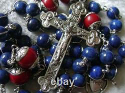 Sterling 925 Silver Lapis lazuli Beads Rosary CROSS CRUCIFIX CATHOLIC NECKLACE