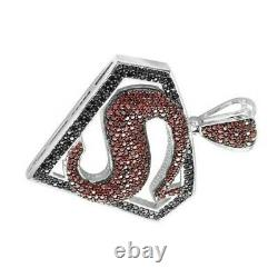 Sterling Silver 925 Fully Iced Out Black & Ruby Superman Logo Diamond Pendant