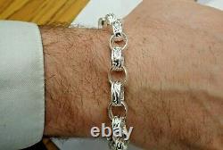 Sterling Silver Belcher Bracelet Plain & Patterned 27 grams Solid