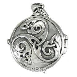 Sterling Silver Celtic Knot Swirl Hidden Pentacle Pentagram Locket Dryad Design