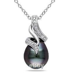 Sterling Silver Diamond 9-10 mm Black Tahitian Pearl Swirled Pendant Necklace 18