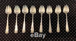 Sterling Silver Gorham Etruscan Set 8 Ice Cream Forks Monogram M