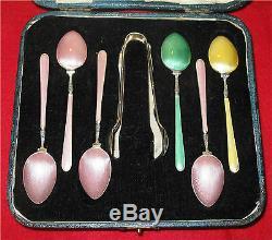 Sterling Silver & Guilloche Enamel Spoons set 6 & sugar thongs Birmingham 1932