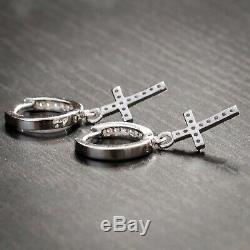 Sterling Silver Ice Out Cz Small Cross Drop Dangle Huggie Hoop Earrings For Men