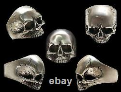 Sterling Silver Keith Richards Skull Ring All Sizes Brush Or Shiny Finish