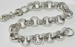 Sterling Silver Ladies Belcher Bracelet Stone Set 7.5 inch