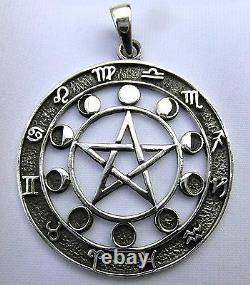 Sterling Silver Pentagram, Moon Phases And Zodiac Signs Pendant! New