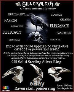 Sterling Silver Raven Skull Bird Poison Locket Ring All Sizes Secret compartment