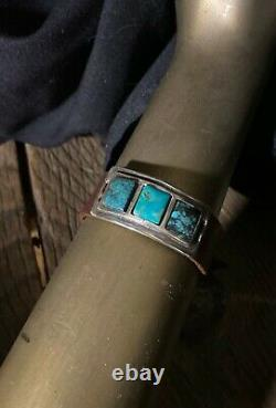 Sterling Silver & Variegated Turquoise Stones Cuff Bracelet Beautiful! New