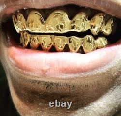 Sterling Silver Yellow Gold Plated Nugget Cut Custom Fit Handmade Real GRILLZ
