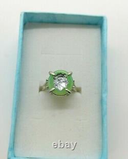 Sterling Size 7 Uranium Glass Cameo Warrior Ring 925 Silver Vaseline