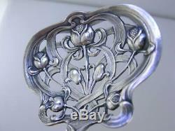 Sterling WATSON pierced Bon Bon / Nut Serving Spoon ART NOUVEAU Floral series