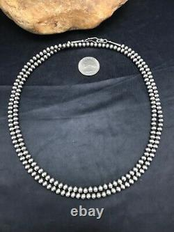 Stunning! Native American Navajo Pearls 5 mm Sterling Silver Bead Necklace 36
