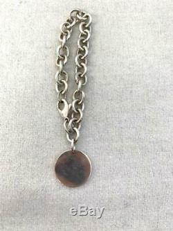 TIFFANY & CO. Bracelet PLEASE RETURN TO Sterling Silver 925 Round Charm Tag