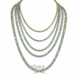 Tennis Chain Real SOLID 925 Sterling Silver Single Row ICED Diamond Necklace