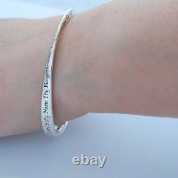 The Lord's Prayer Mobius Bangle Bracelet 925 Sterling Silver Bible Cross NEW