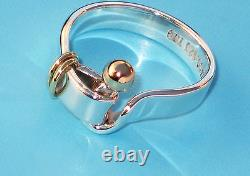 Tiffany & Co 18 Ct Gold & Sterling Silver 925 Hook & Eye Band Ring RRP £525
