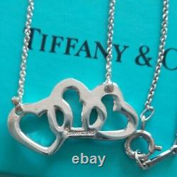 Tiffany & Co. 3 Triple Open Heart Necklace Pendant Sterling Silver 925 NO BOX