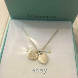 Tiffany & Co. Return to Mini Double Heart Pendant Necklace Sterling Silver H