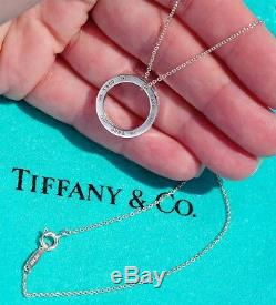 Tiffany & Co Sterling Silver 1837 Medium Circle Round Charm Pendant Necklace 16