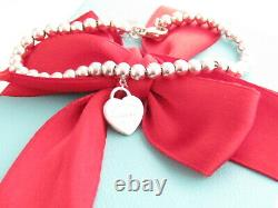 Tiffany & Co Sterling Silver 925 Heart Return To Mini Bead Bracelet 7.5
