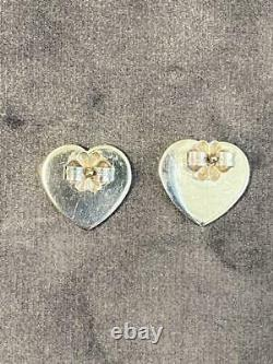 Tiffany & Co. Sterling Silver 925 Return To Heart Stud Earrings NO BOX Used Good