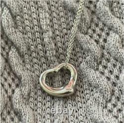 Tiffany & Co Sterling Silver Elsa Peretti Open Heart 16 Pendant Necklace NO BOX