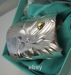 Tiffany & Co Stunning MAGNOLIA & BUG Sterling Silver 18K Gold Wide Cuff Bracelet