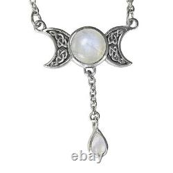 Triple Moon Goddess Moonstone Drop Sterling Silver Celtic Wiccan Necklace 18