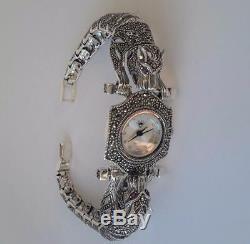 Turkish Handmade 925 Sterling Silver Marcasite Ladies Wristwatches