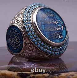 Turkish Handmade 925 sterling silver SPECAL slamic Turquose Men's Ring Sz 11