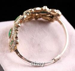 Turkish Jewelry Handmade 925 Sterling Silver Green Emerald Bracelet Bangle Cuff