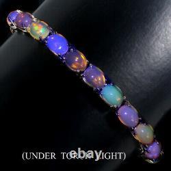 Unheated Oval Fire Opal Rainbow Luster 9x7mm 925 Sterling Silver Bracelet 7.5 In
