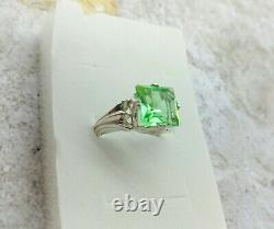 Uranium Glass Square 925 Sterling Silver Ring Size 7