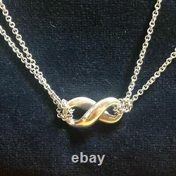 Used Tiffany & Co. Infinity Double Chain Necklace Pendant Sterling Silver 925